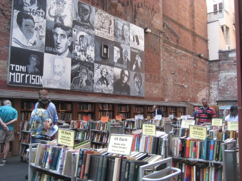 brattle book shop sale carts lot outdoor boston