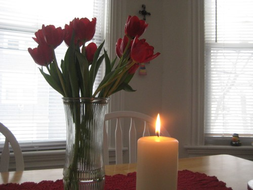 candle tulips table light