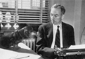e.b. white writer dachshund dog minnie