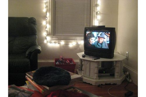 Two favorite antidotes to stress: twinkle lights and a holiday movie.