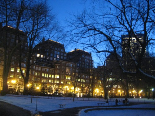 boston garden winter snow dusk lights