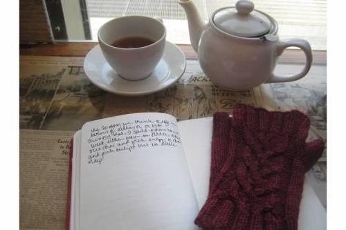 tea cafe journal gloves