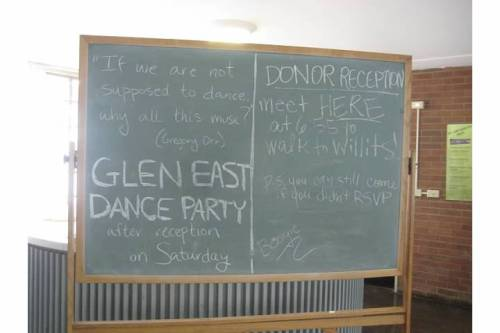 glen east dance party chalkboard
