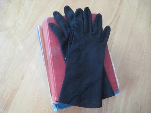 black cotton church gloves grandmother
