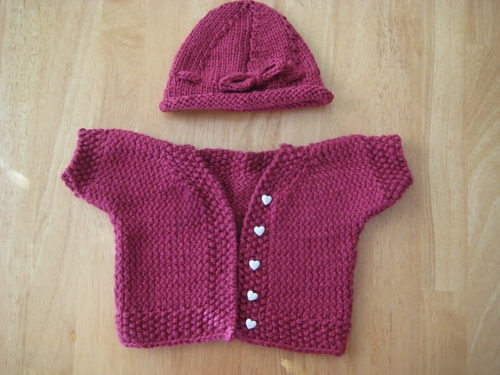 girl baby hat cardigan knitted pink