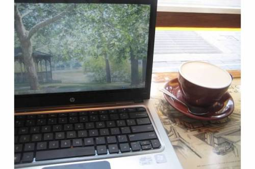laptop chai thinking cup