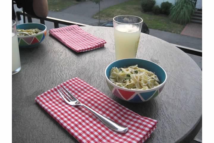 pasta dinner patio lemonade summer