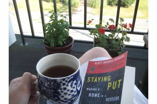 tea books balcony garden