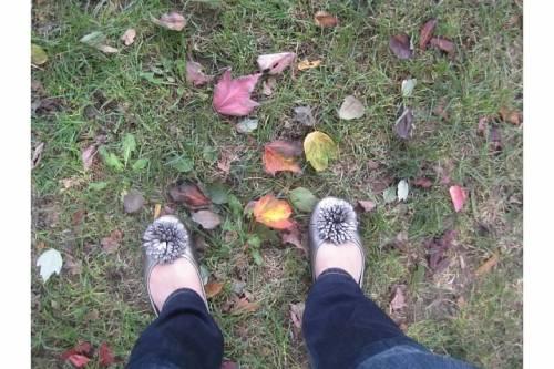 leaves autumn silver ballet flats