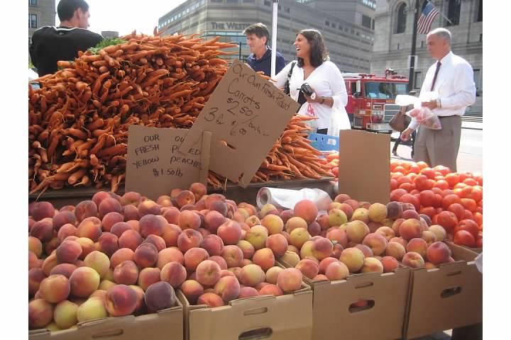 carrots peaches farmers market summer fall