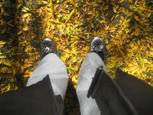 ballet flats yellow leaves fall autumn