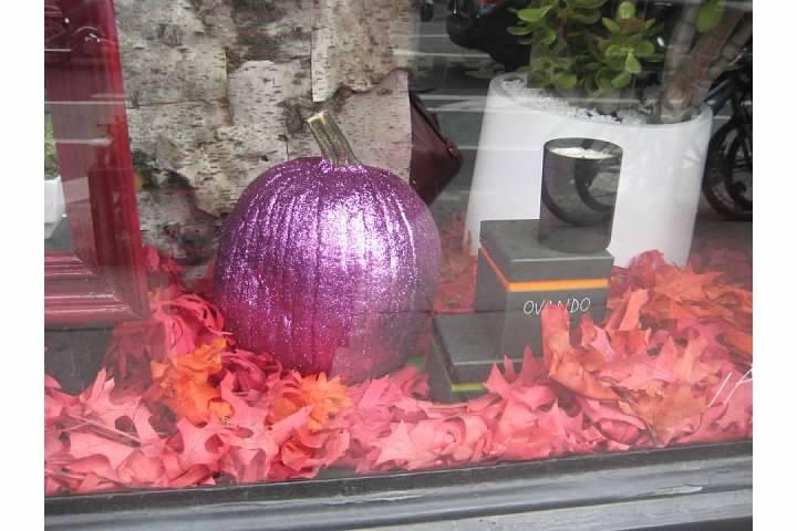 purple pumpkin window west village nyc