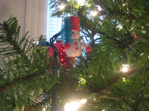 snowman ornament christmas tree
