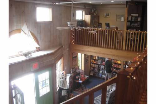 owl turtle bookshop interior camden maine