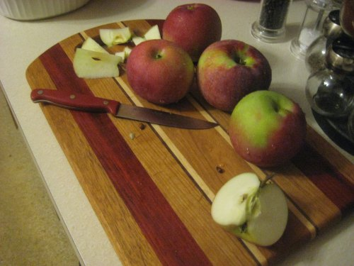 apples cutting board kitchen fall