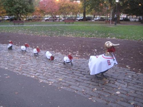 ducklings beards red sox public garden boston