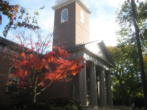 memorial church harvard fall red leaves