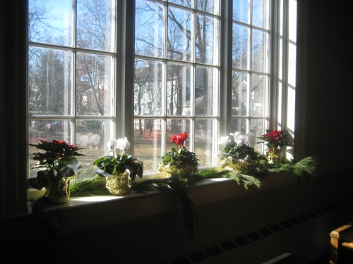 advent church window flowers