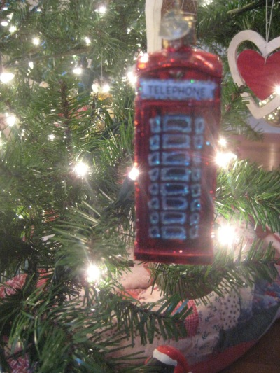 telephone booth christmas ornament