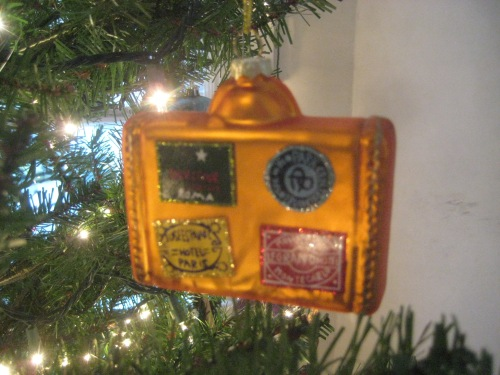 suitcase travel christmas ornament