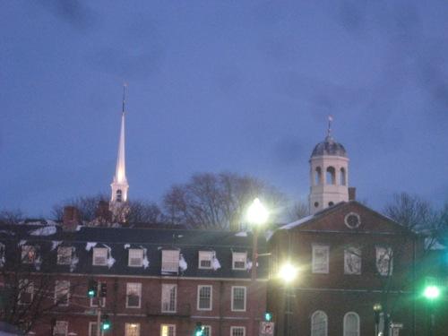 spires harvard blue sky