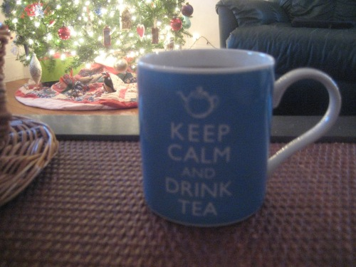 keep calm drink tea blue mug