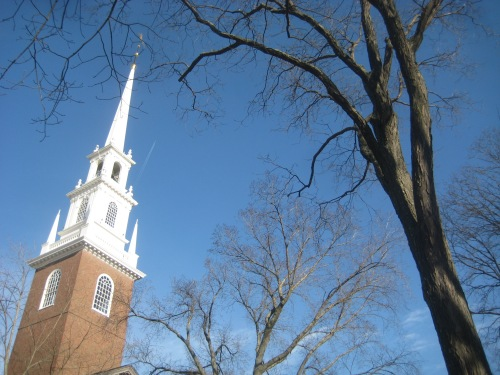 memorial church harvard yard blue sky