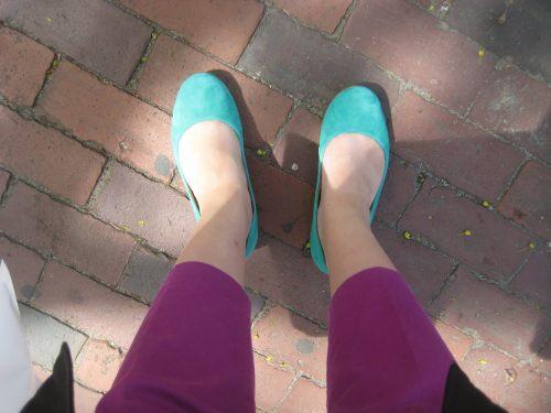 green shoes purple pants