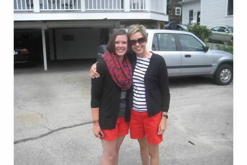 mom katie red shorts matching
