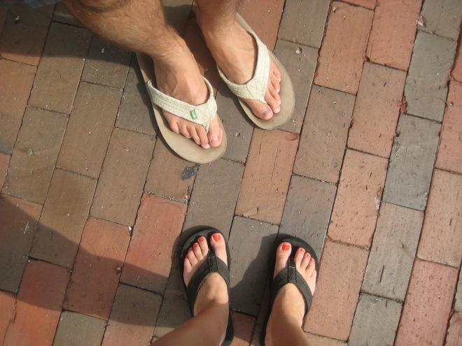 flip flops sidewalk