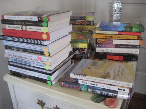 tbr table book stacks