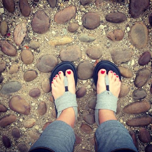 feet cobblestones
