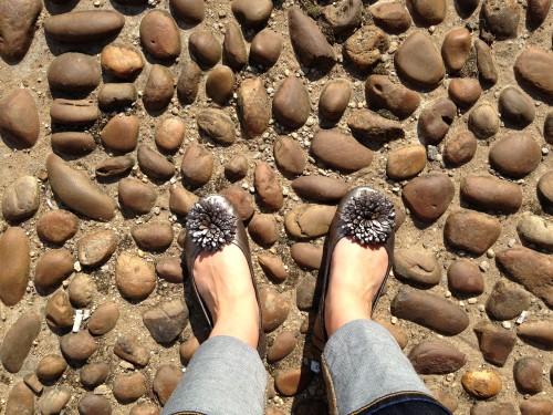 cobblestones oxford silver flats