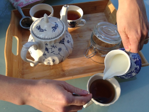 tea set hands garden