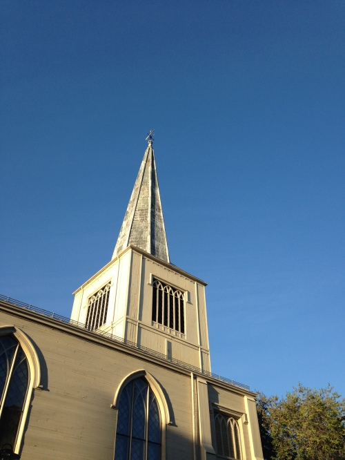 cambridge first parish blue sky autumn