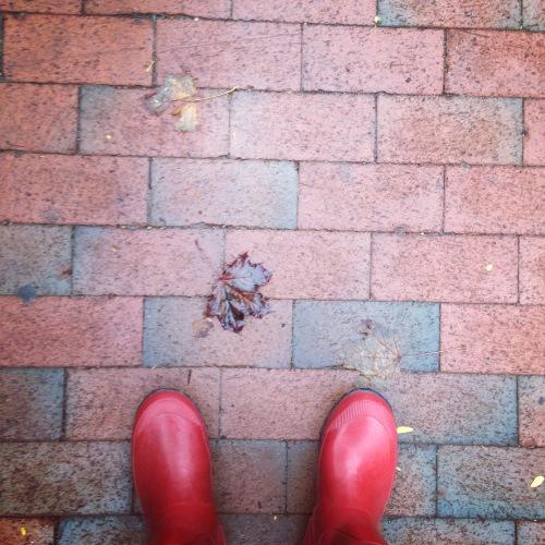 red wellies leaf sidewalk