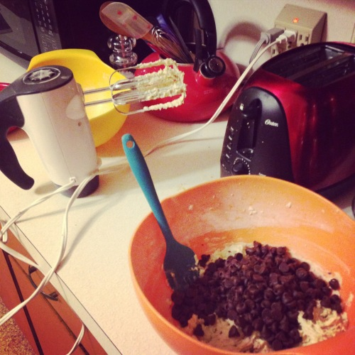 mixing bowl cookies chocolate chips
