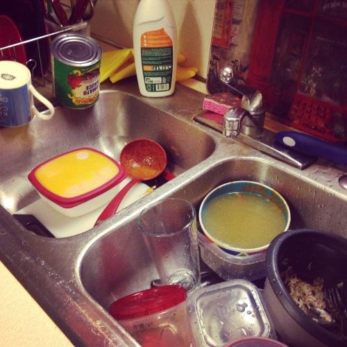 dishes sink kitchen