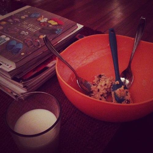 cookie dough milk bowl spoons