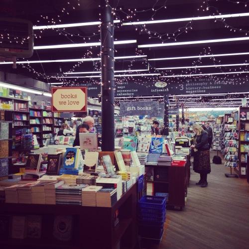 brookline booksmith interior twinkle lights