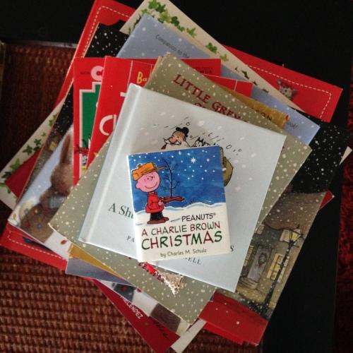 christmas book stack charlie brown
