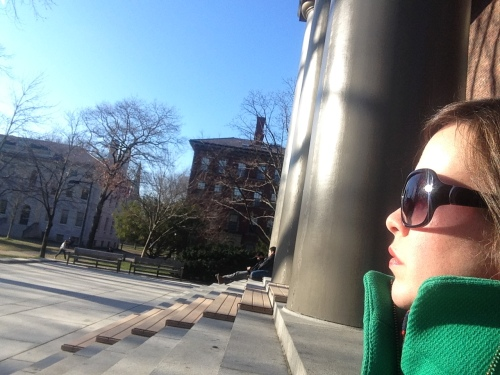 katie memorial church green coat harvard yard