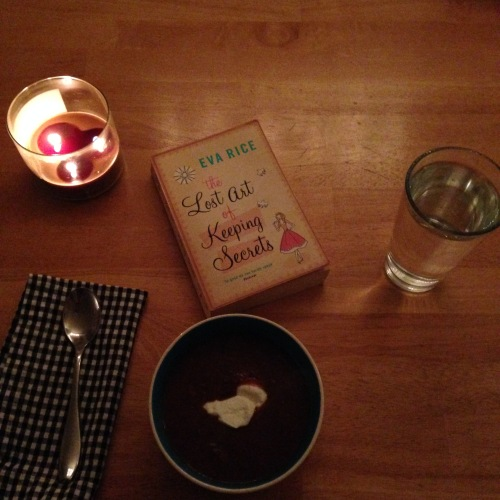 black bean soup book candle dinner
