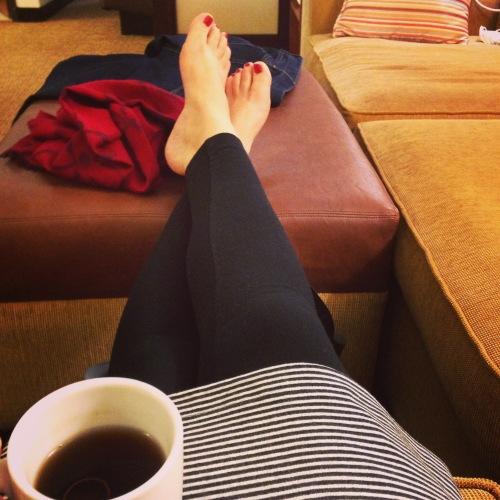 stripes tea bare feet red scarf