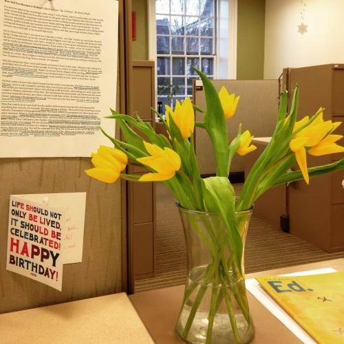 yellow tulips desk