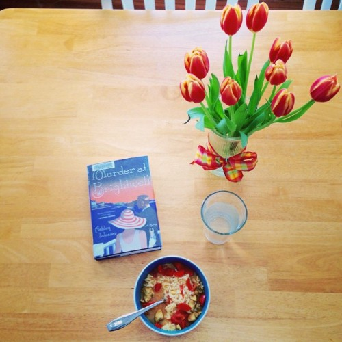 tulips table book bowl curry lunch