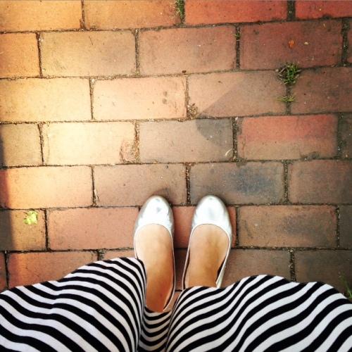 stripes silver flats