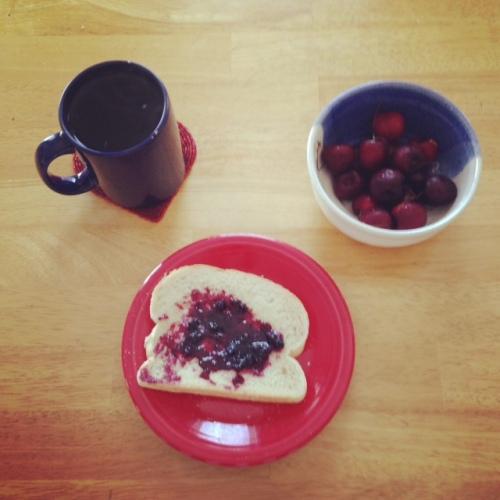 cherries toast breakfast