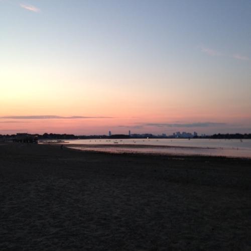 boston skyline sunset