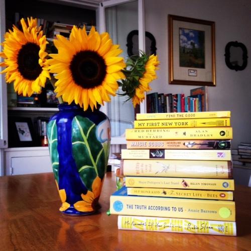 sunflowers yellow books